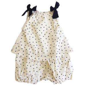 30%OFFセール 日本製子供服 whip cream ホイップクリーム 子供服 Dotセットアップ風ロンパース(オフホワイト)ベビー服(日本製)|qeskesmoppet