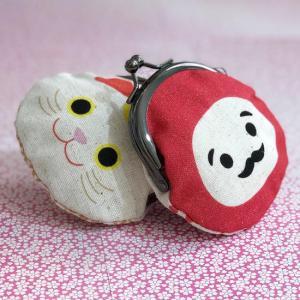 日本製 日本の縁起 がま口 2寸丸がま口(マグネット付) 招き猫 だるま 財布 レディース がま口 ガマ口 ねこ雑貨 猫雑貨|qeskesmoppet