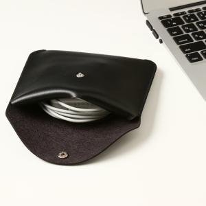 電源アダプタ/電源ケーブル 収納ポーチ MacBook 対応(ブラック・L)|qolca