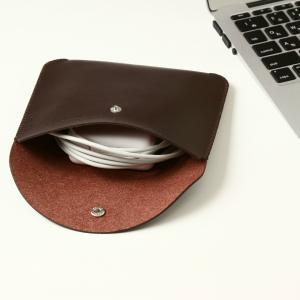 電源アダプタ/電源ケーブル 収納ポーチ MacBook 対応(ブラウン・L)|qolca