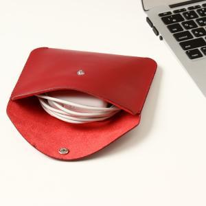 電源アダプタ/電源ケーブル 収納ポーチ MacBook 対応(レッド・L)|qolca