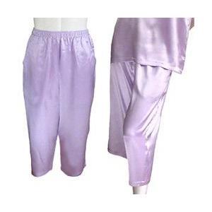 100%シルク パンツ(七分丈)(パープル)|qplan