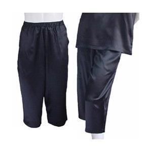 100%シルク パンツ(七分丈)(ブラック)|qplan