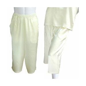 100%シルク パンツ(七分丈)(アイボリー)|qplan