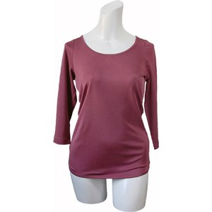 100%シルク 七分袖シャツ(ワイン)|qplan