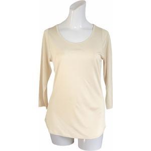 100%シルク 七分袖シャツ(ピーチ)|qplan