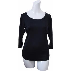 100%シルク 七分袖シャツ(ブラック)|qplan