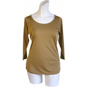100%シルク 七分袖シャツ(モカ)|qplan