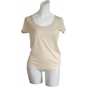 100%シルク フレンチスリーブシャツ(ピーチ)|qplan