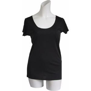 100%シルク フレンチスリーブシャツ(ブラック)|qplan