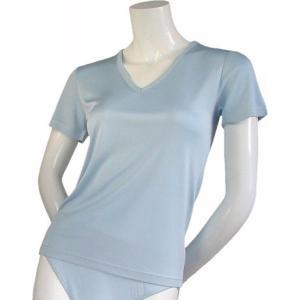 100%シルク ニットTシャツ(ブルー)|qplan