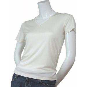 100%シルク ニットTシャツ(ナチュラル)|qplan