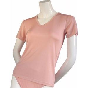 100%シルク ニットTシャツ(ピンク)|qplan