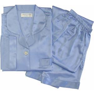 100%シルク レディースパジャマ(ブルー)|qplan