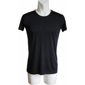 100%シルク 丸首シャツ(ブラック)|qplan