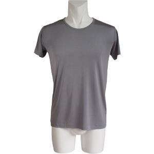 100%シルク 丸首シャツ(グレー)|qplan