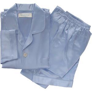 100%シルク メンズパジャマ(ブルー)|qplan