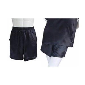 100%シルク パンツ(ショートパンツ)(ブラック)|qplan