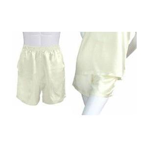 100%シルク パンツ(ショートパンツ)(アイボリー)|qplan