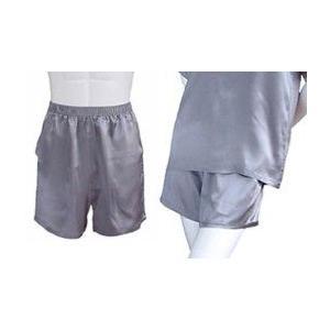 100%シルク パンツ(ショートパンツ)(グレー)|qplan