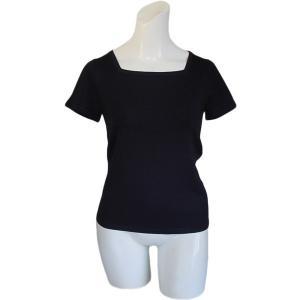 【セール40%OFF】100%シルク スクエアネックセーター(ブラック)|qplan
