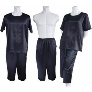 100%シルク Tシャツ&パンツ(七分丈)(ブラック)|qplan
