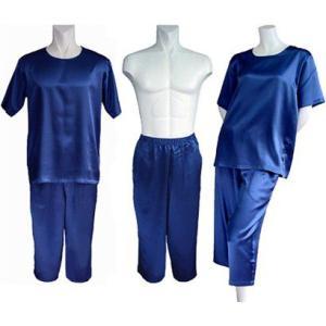 100%シルク Tシャツ&パンツ(七分丈)(インディゴ)|qplan