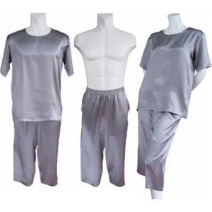100%シルク Tシャツ&パンツ(七分丈)(グレー)|qplan