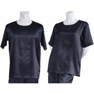 100%シルク Tシャツ(ブラック)|qplan
