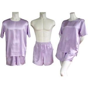 100%シルク Tシャツ&ショートパンツ(パープル)|qplan