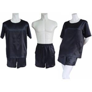 100%シルク Tシャツ&ショートパンツ(ブラック)|qplan