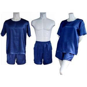 100%シルク Tシャツ&ショートパンツ(インディゴ)|qplan