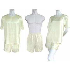 100%シルク Tシャツ&ショートパンツ(アイボリー)|qplan