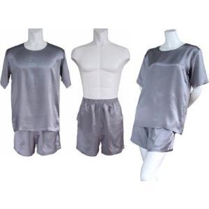 100%シルク Tシャツ&ショートパンツ(グレー)|qplan