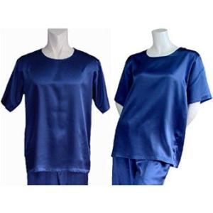100%シルク Tシャツ(インディゴ)|qplan