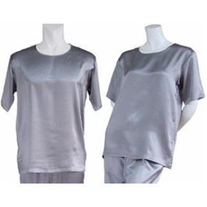 100%シルク Tシャツ(グレー)|qplan