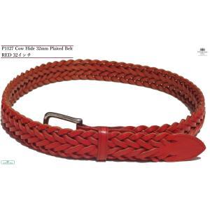 品番 :P1127 32mmメッシュレザーベルト カラー:RED(レッド) サイズ:32インチ(全長...