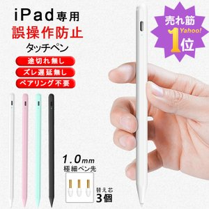 【売れ筋1位】タッチペン iPad ペンシル 極細ペン先 磁気吸着 パームリジェクション機能 スタイラスペン iPad Pro Air4 Mini5 11 12.9インチ超高感度 Type-C充電の画像