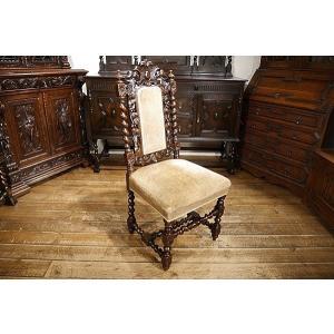 英国イギリスアンティーク家具1900年代 ビクトリアンチェア 彫刻 6938|qs-antiques