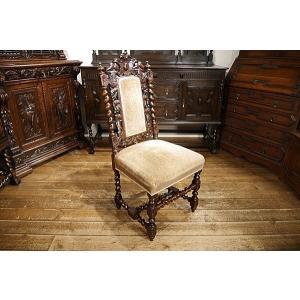 英国イギリスアンティーク家具1900年代 ビクトリアンチェア 彫刻 6939|qs-antiques