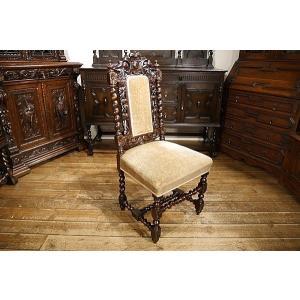 英国イギリスアンティーク家具1900年代 ビクトリアンチェア 彫刻 6941|qs-antiques