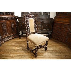 英国イギリスアンティーク家具1900年代 ビクトリアンチェア 彫刻 6942|qs-antiques