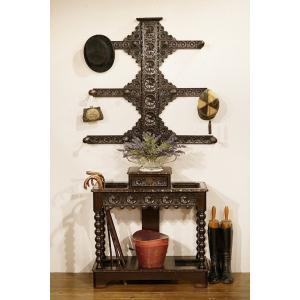 英国アンティーク家具 1880年代 ビクトリアン 見事な彫刻 ハットスタンド 6951W|qs-antiques
