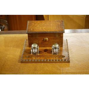英国イギリスアンティーク 卓上レターラック インク&ペン・トレイ ガラスインクポット付属 オーク材 1930年代 7393|qs-antiques