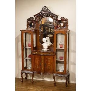 英国イギリスアンティーク家具 ヴィクトリアン 1890年代 エンパイアキャビネット パーラーキャビネット 猫脚 7519W|qs-antiques