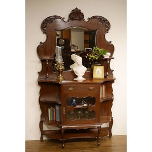 英国アンティーク家具 1890年代 ヴィクトリアン エンパイアキャビネット マホガニー材総無垢 ディスプレイ ショーケース 7772W|qs-antiques