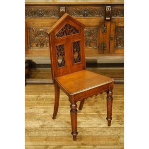 英国イギリスアンティーク家具 1900年代 ビクトリアン ホールチェア 樫 マホガニー材無垢 チャーチチェア 8163|qs-antiques