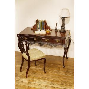 英国イギリスアンティーク家具 ビクトリアン ホールテーブル ソファテーブル デスク 机  彫刻 8209W|qs-antiques