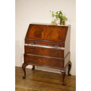 英国イギリスアンティーク家具 ライティングビューロー 机 マホガニーのきれいな杢目  デスク  猫脚 8342|qs-antiques