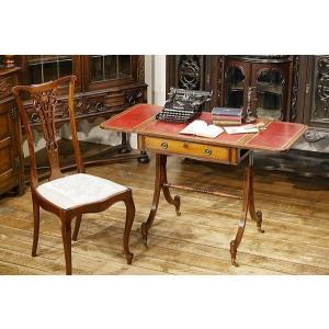 英国イギリスアンティーク家具 バタフライソファテーブル 天板革張 マホガニー材 デスク 机 花台 8344|qs-antiques